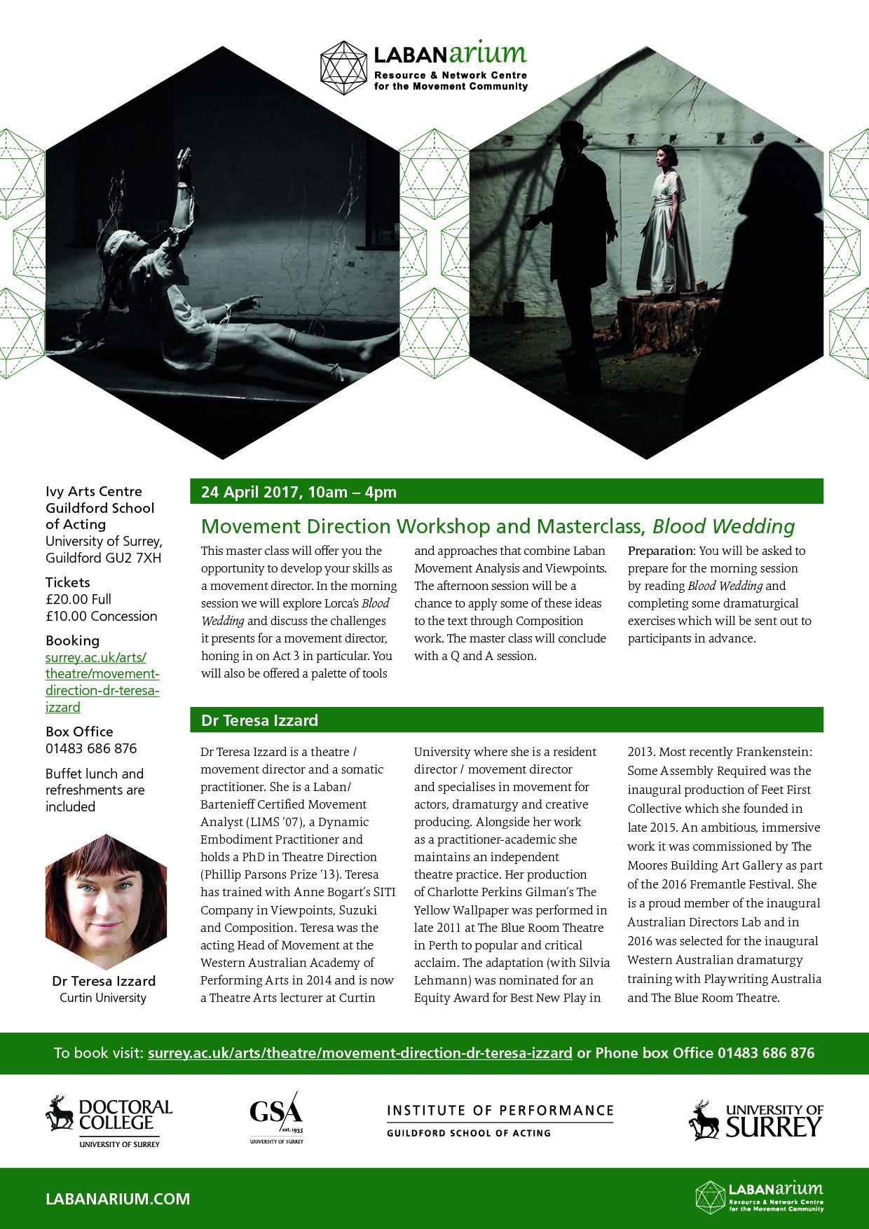 Labanarium presents – series……Movement Direction workshop and Master Class Dr Teresa Izzard