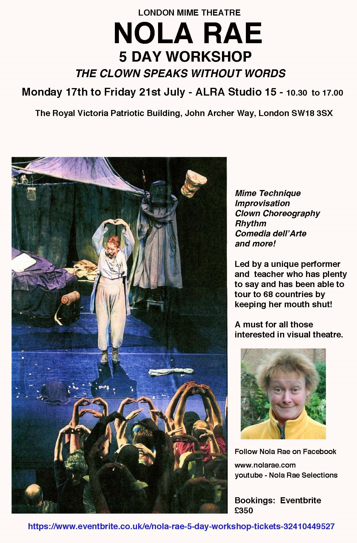 The Clown Speaks Without Words  – 5 day intensive workshop