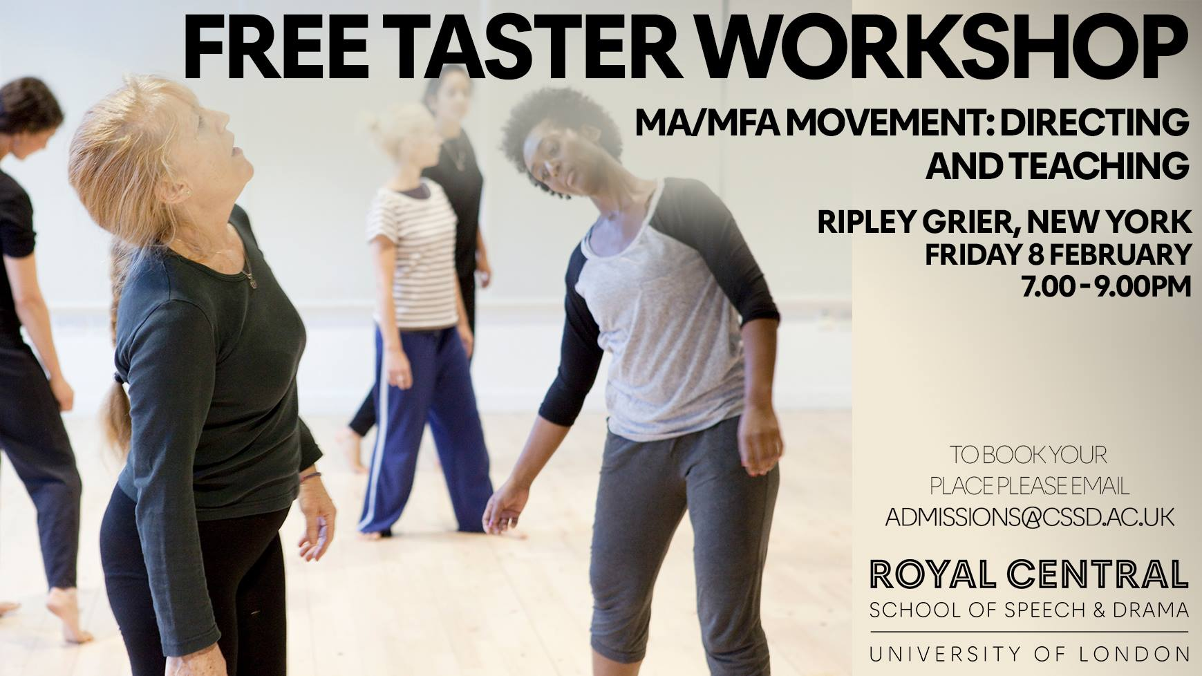 Free Taster Workshop MA/MFA Movement Direction and Teaching with Vanessa Ewan, NEW YORK, US